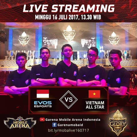EVOS, Sang Juara E-Sports Mobile Arena Siap Bertarung di Throne of Glory Vietnam