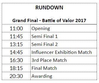 Ini Dia Rundown acara The Grand Finals of Battle of Valor - Turnamen Nasional Pertama AoV Berhadiah 1 Miliar