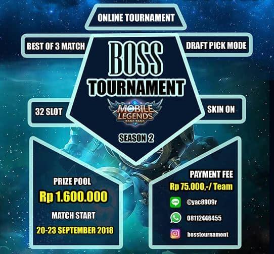 Turname Mobile Legends - Boss Tournament Season 2 Siap Digelar