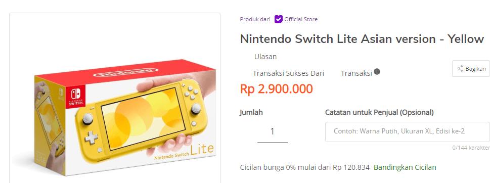 Nintendo Switch Lite Harga Murah Meriah