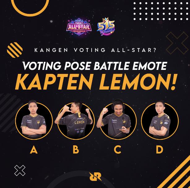 RRQ Lemon Memang Ajaib, Mobile Legends Siapkan 4 Pose Battle Emote RRQ Lemon